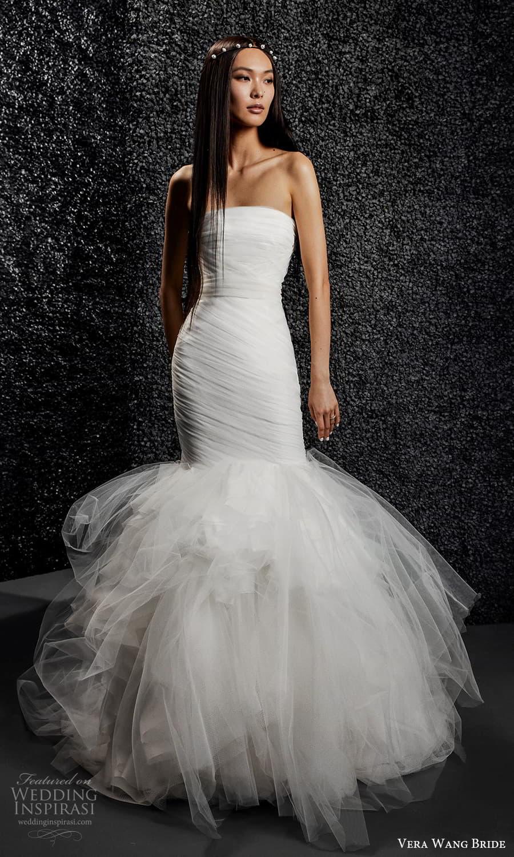 vera wang bride pronovias fall 2021 bridal strapless straight across neckline ruched bodice mermaid wedding dress (8) mv