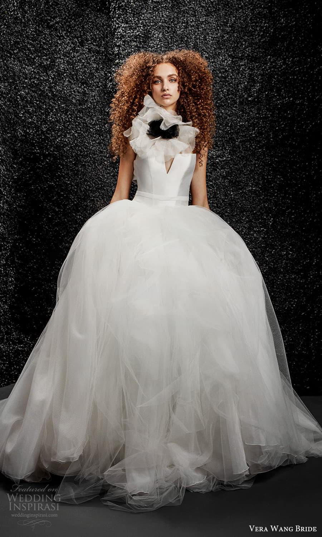 vera wang bride pronovias fall 2021 bridal strapless straight across v neckline clean minimalist ball gown wedding dress chapel train (32) mv