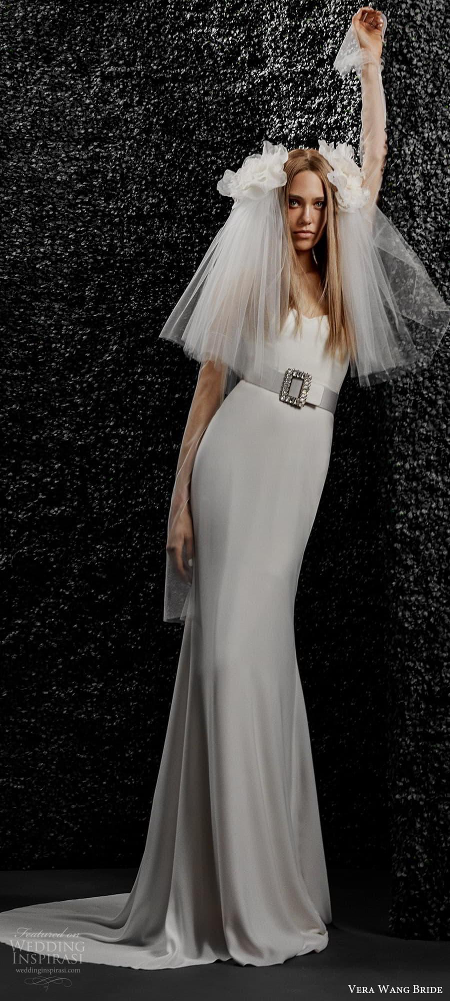 vera wang bride pronovias fall 2021 bridal strapless sweetheart neckline clean minimalist sheath wedding dress chapel train (34) mv