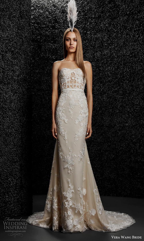 vera wang bride pronovias fall 2021 bridal strapless sweetheart neckline embellished lace sheath modified a line wedding dress chapel train (10) mv