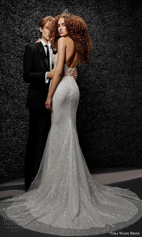 vera wang bride pronovias fall 2021 bridal strapless sweetheart neckline heavily embellished sheath wedding dress chapel train (39) mv